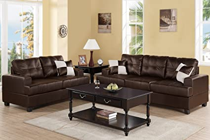 Amazon.com: Poundex F7577 Upholstered in Espresso Bonded Leather ...