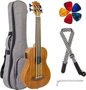 Electric Acoustic Bass Ukulele 30 Inch Mahogany Ukelele with Gig Bag Picks Wrench By Kmise