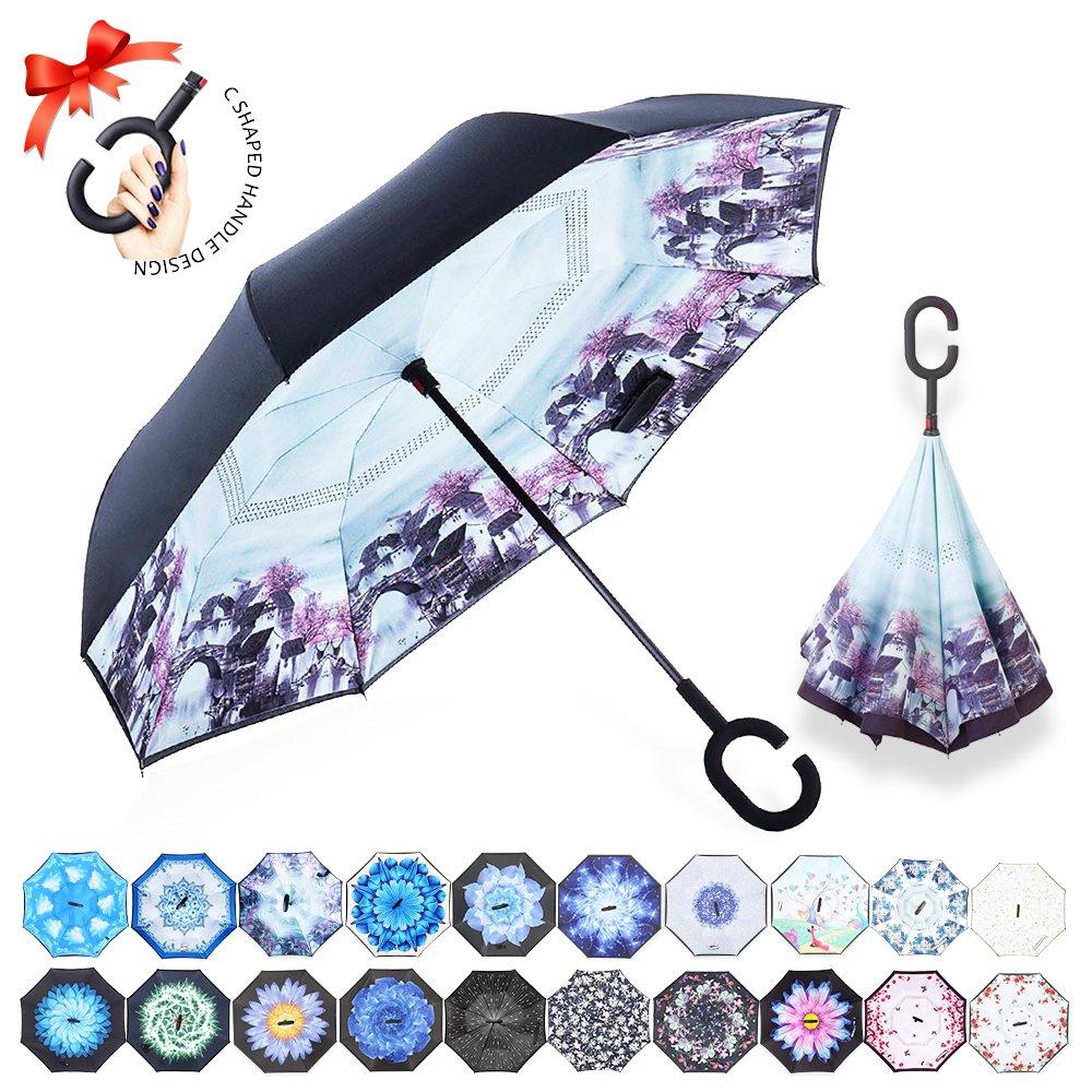 Parapluie Inversé,Parapluie Canne,Double Couche Coupe-Vent, Mains Libres poignée en forme C, Idéal pour Voiture et Voyage ZOMAKE Parapluie Inversé