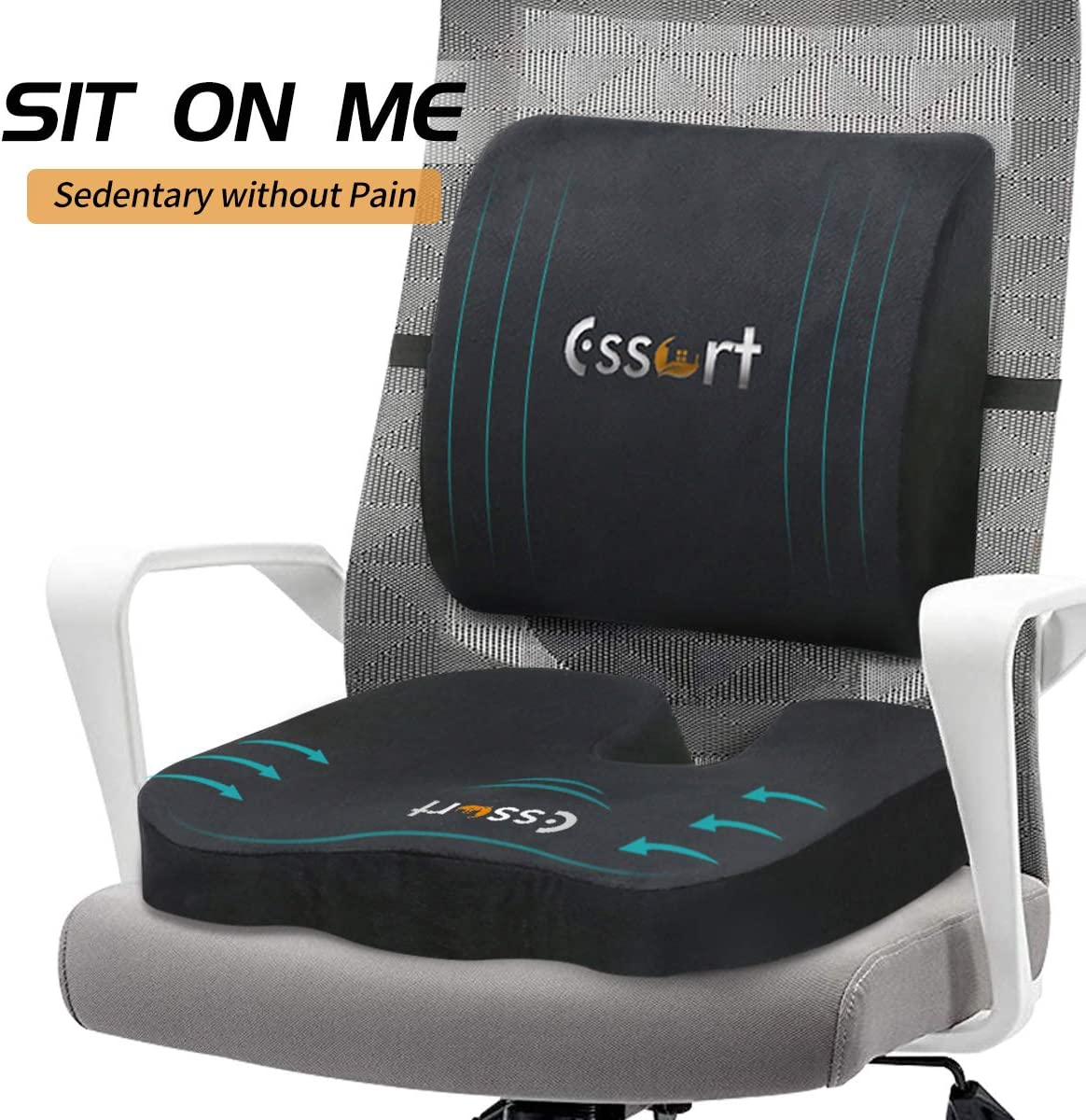 Memory Foam Back and Seat Cushions Combo