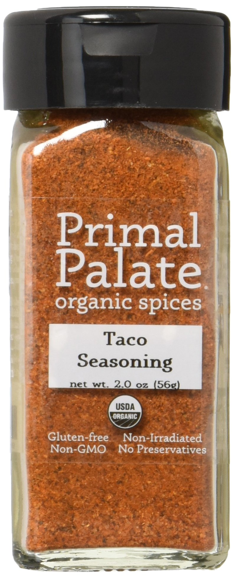 Primal Palate Organic Spices Taco Seasoning, Certified Organic, 2.0 oz Bottle