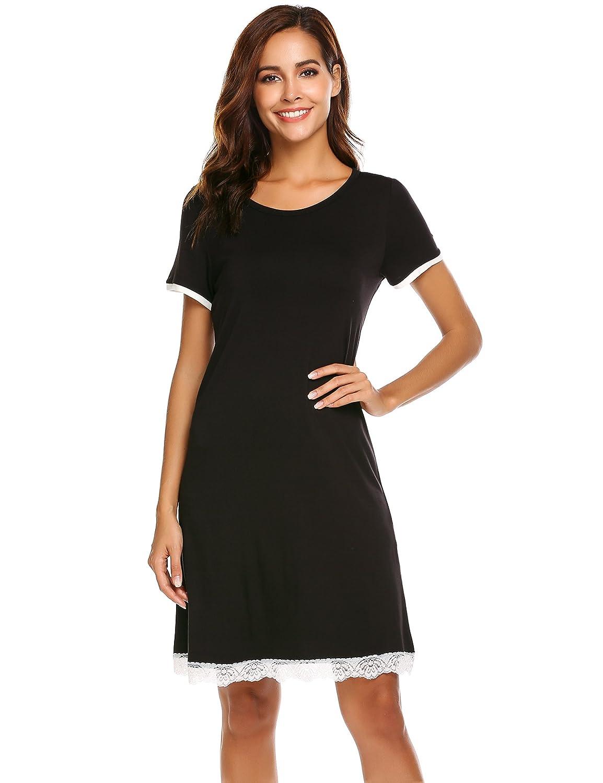 Ekouaer Women's Nightgown Modal Knit Sleep Dress Short Sleeve Sleepwear Scoop Neck Sleep Shirt Contrast Nightshirt KSK009157