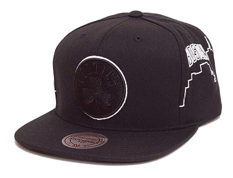 save off f6ce5 7ca55 Mitchell   Ness NBA City Scape Adjustable Snapback Hat Black (Boston  Celtics)