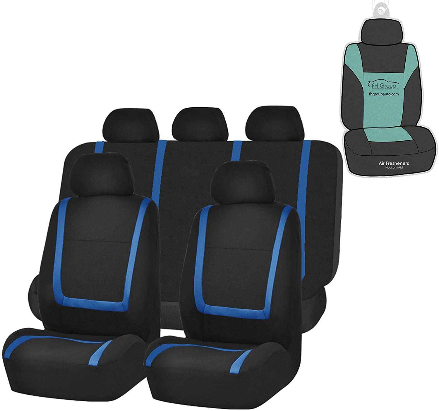 FH Group FB032115 Unique Flat Cloth Full Set Bucket Seat Covers, Airbag Compatible & Split Ready, Black/Blue Color w. Gift-Universal fit for Cars, auto, Trucks, SUV