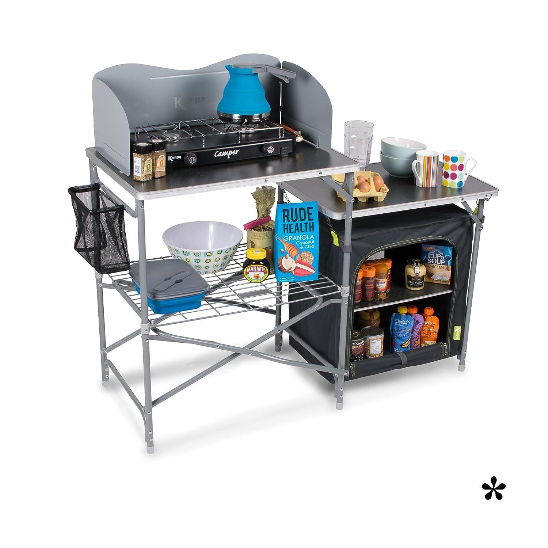 Campingküche mit Beistellschrank viel Stauraum einfacher Aufbau zusammenfaltbar • Campingschrank Faltschrank Campingzubehör Outdoor Kochen Zelt Küche