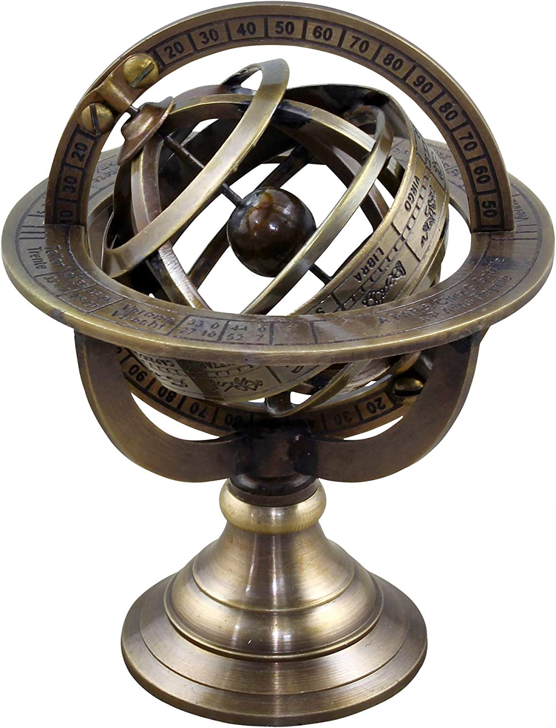 RoyaltyRoute Small Gold Armillary Stand, Metal Globe with Astrological Signs, Brass Armillary Sphere, Coastal Table Decor, Traditional Table Decor 4.5