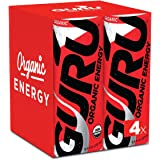 GURU Organic Energy Drink – Delicious-Tasting, Vegan, Non-GMO Natural Energy – Experience All Day Energy Without the Jitters, Rush or Crash – 4 x 8oz/250ml Cans