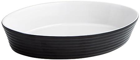 Quid B&W Fuente Oval para Horno, Gres, Blanco y Negro, 37x26x7 cm ...