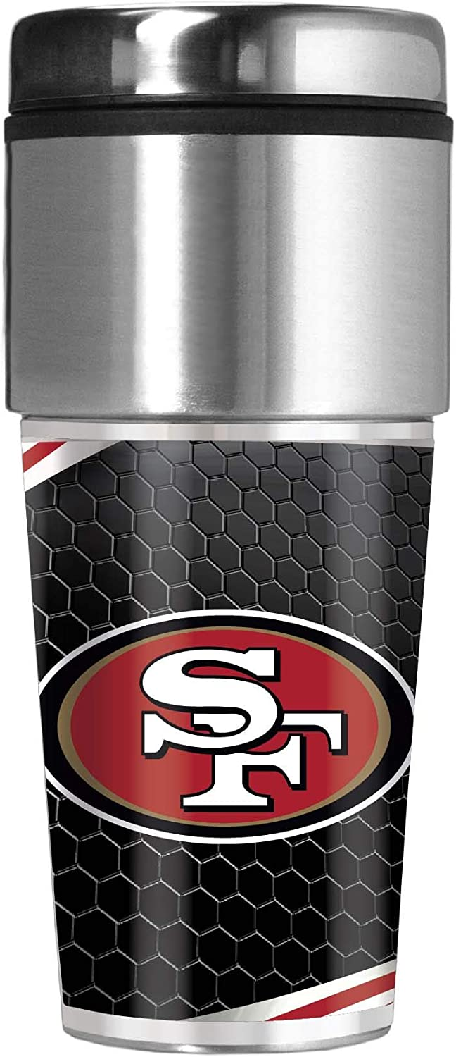 Great American Products San Francisco 49ers 16 oz Travel Tumbler with Metallic Honeycomb Design Wrap