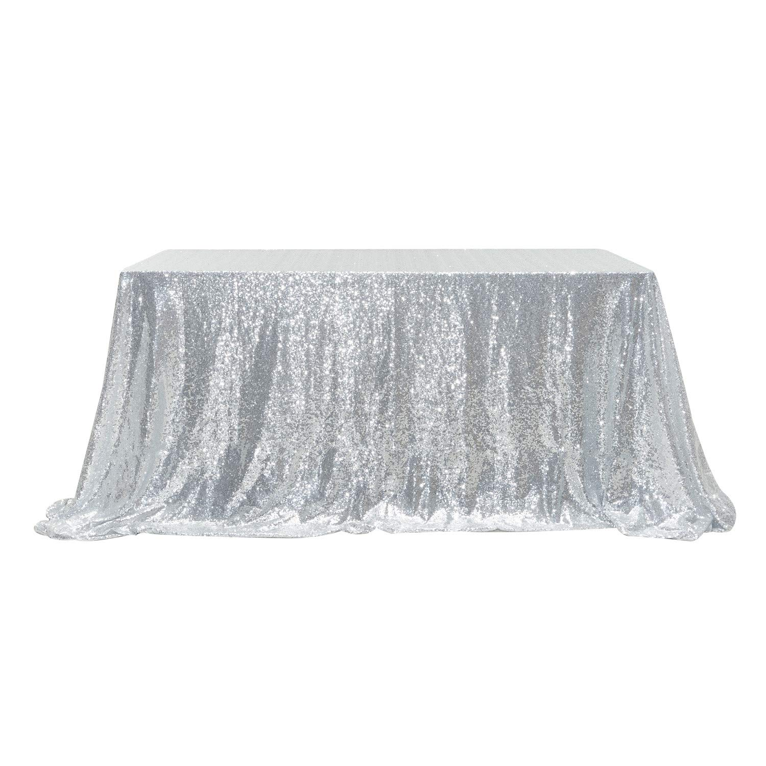 "PartyDelight Sequin Tablecloth, Rectangular, 60""x120"", Silver"