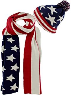 d774825c299 AnVei-Nao Unisex USA American Flag Winter Warm Double Knit Scarf ...
