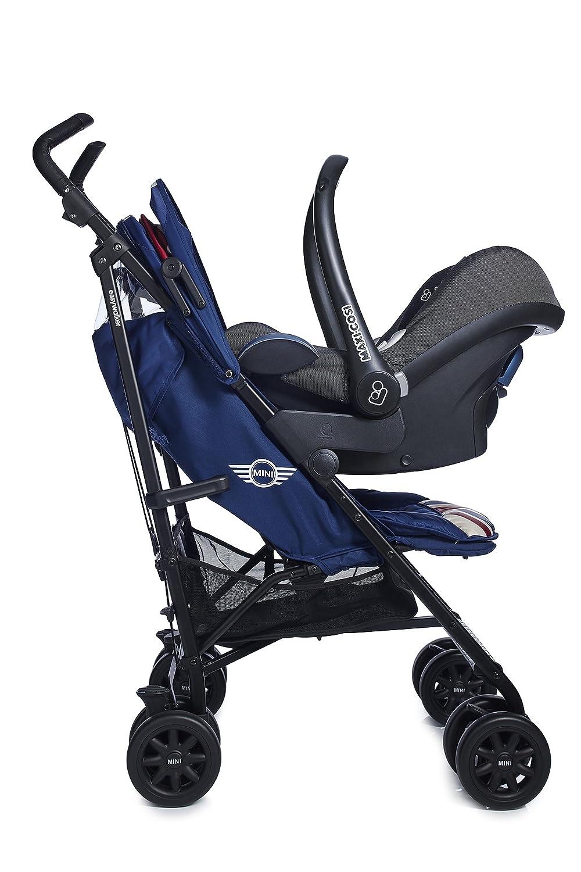 MINI by Easywalker Silla de paseo XL - Union Jack Classic + Easywalker Adaptador de asiento para automóvil + Easywalker Barra delantera de silla de paseo ...