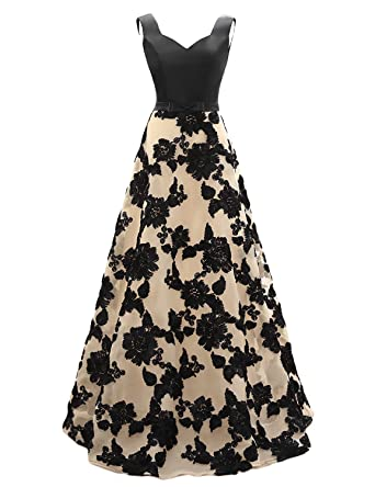 Elinadrs Elinadress Women Long A Line Sleeveless Lace Up Back Prom Dress Evening Gown Black
