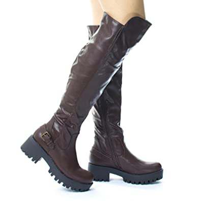 2d25280ef Lug Sole Over Knee Thigh High Belted Riding Boots. Platform Thread Brown
