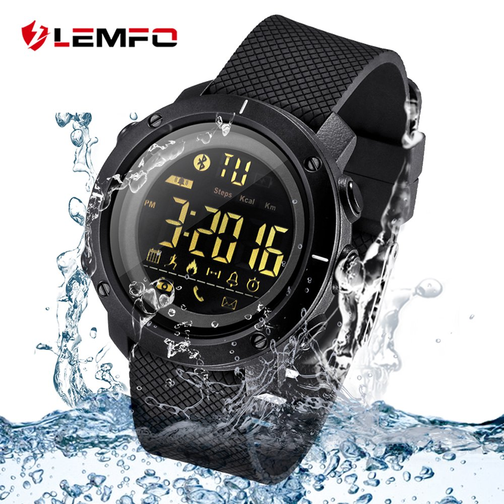 4YOUALL Lemfo Smart Watch, IP67 Waterproof Bluetooth Watch Alarm Call,SMS,Skype,Twitter,Whatsapp Reminder With Heart Rate Monitor