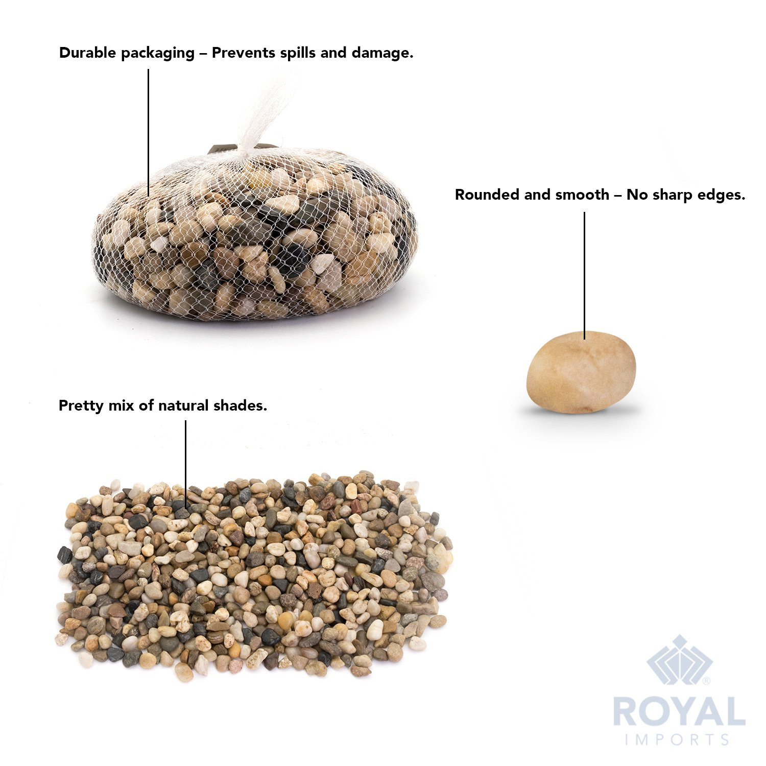 Natural Home Decor etc Landscaping with Netted Bag Royal Imports 5lb Large Decorative Polished Gravel River Pebbles Rocks for Fresh Water Fish Animal Plant Aquariums