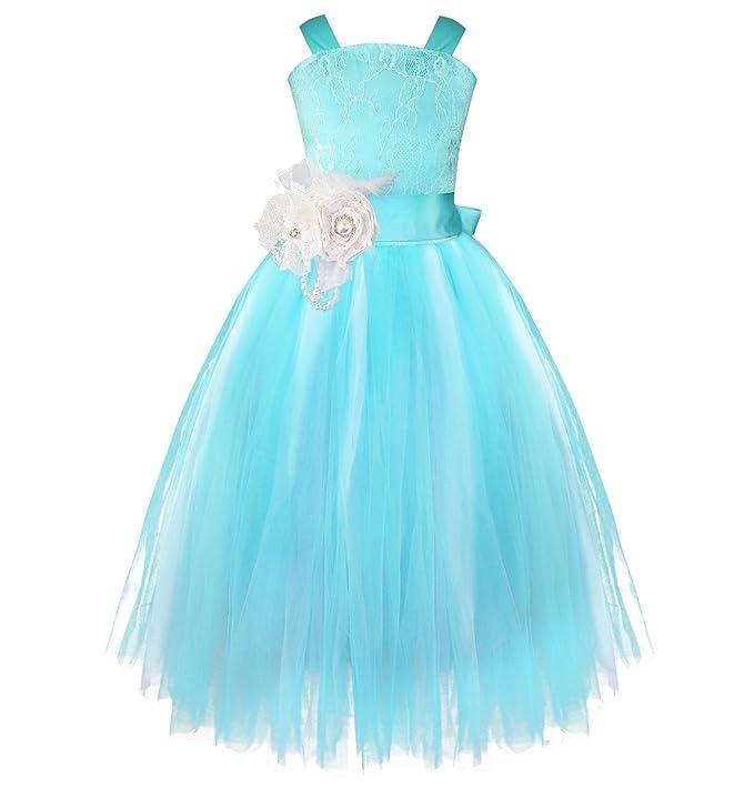 iEFiEL Vestidos Elegantes de Bautizo Boda Ceremonia para Niña Disfraces de Princesa de Encaje Floreado Azul