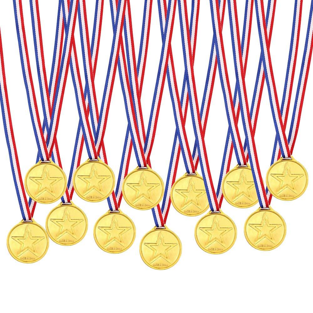 12 PCS M/édailles en Plastique M/édaille en Or pour Enfants avec Boucle de s/écurit/é Prix pour Les Enfants Prix Cadeaux de No/ël pour Les gagnants de la f/ête Sportive /à l/'/&ea Gobesty M/édailles Enfants