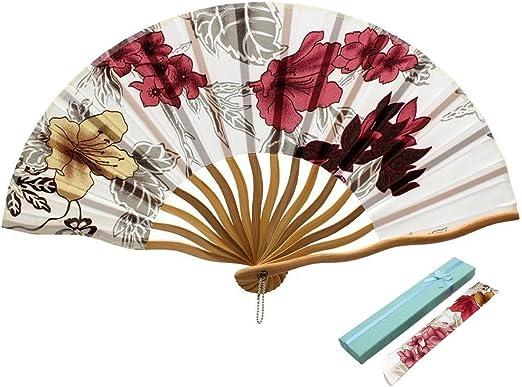 Chinese Style Blooming Flowers Design Silk Folding Fan Bamboo Fan Blue
