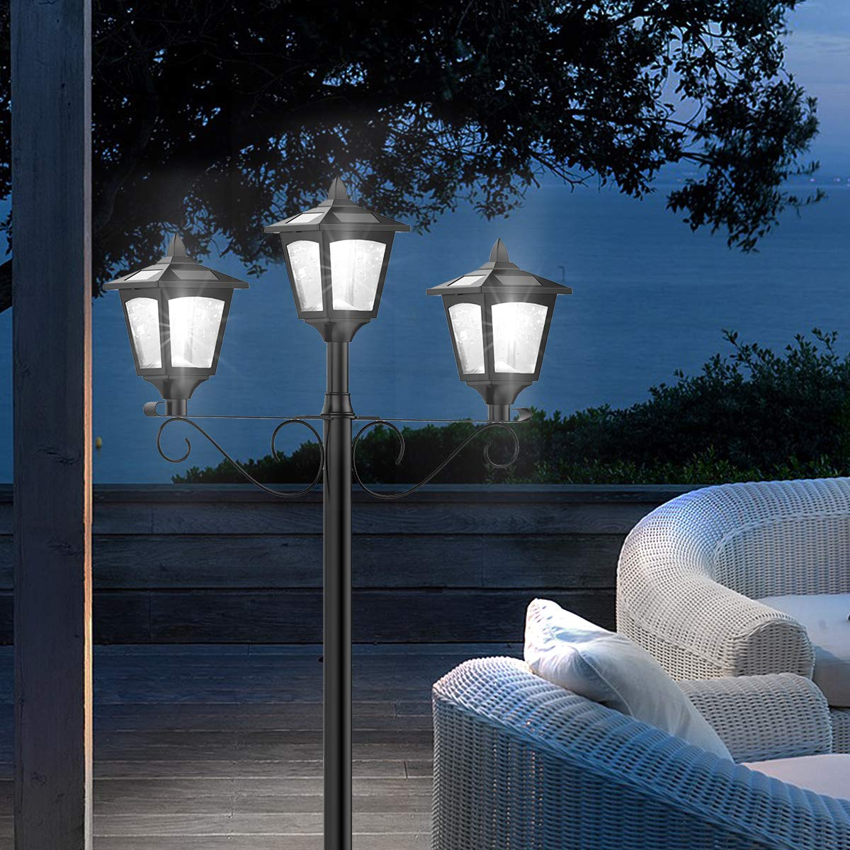 72'' Solar Lamp Post Lights Outdoor, Triple-Head Street Vintage Solar Lamp Outdoor, Solar Post Light for Garden, Lawn, Planter Not Included by Greluna (Image #7)