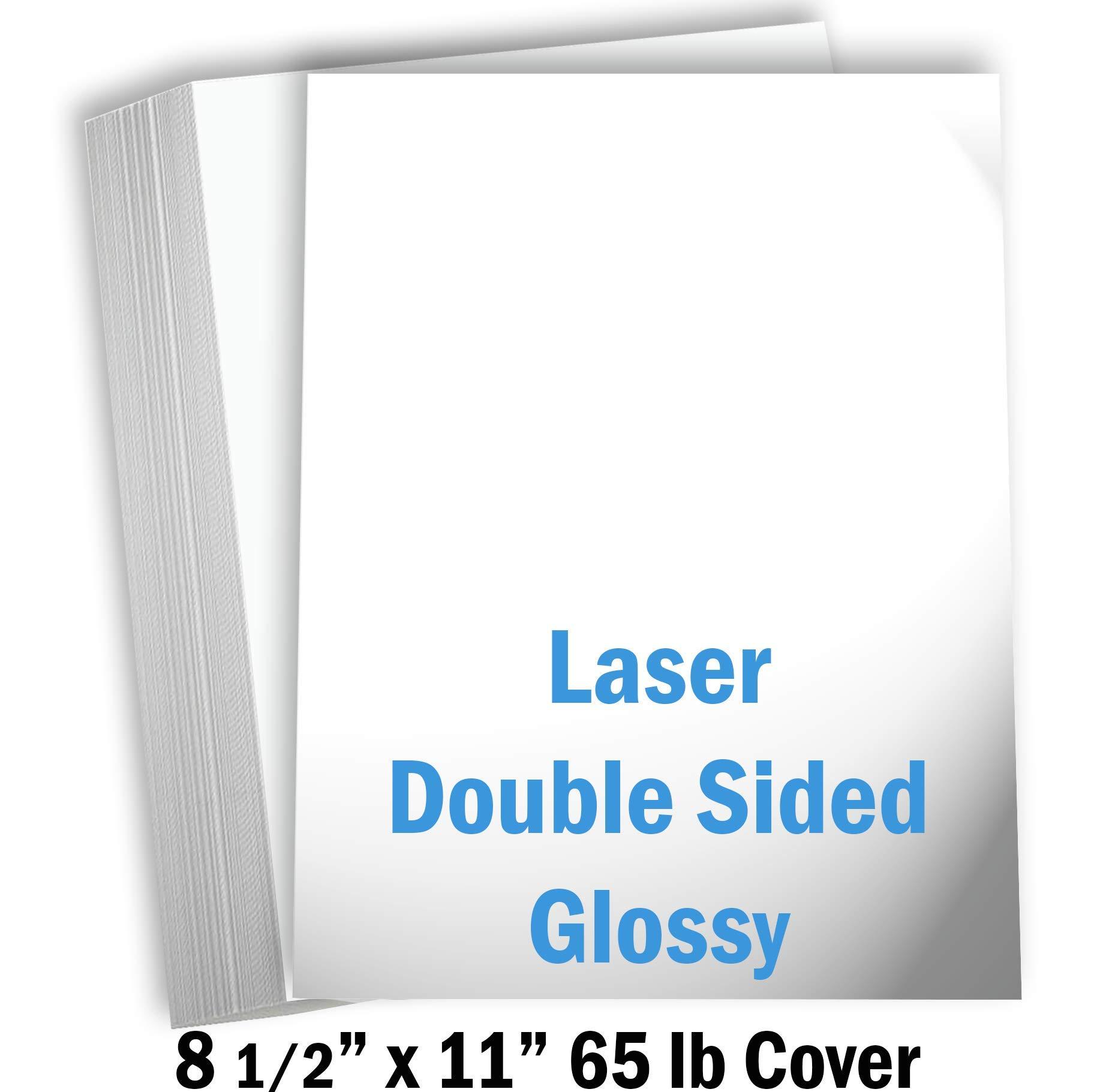 Hamilco White Glossy Cardstock Paper - 8 1/2 x 11'' 65 lb Cover Card Stock - 50 Pack by Hamilco