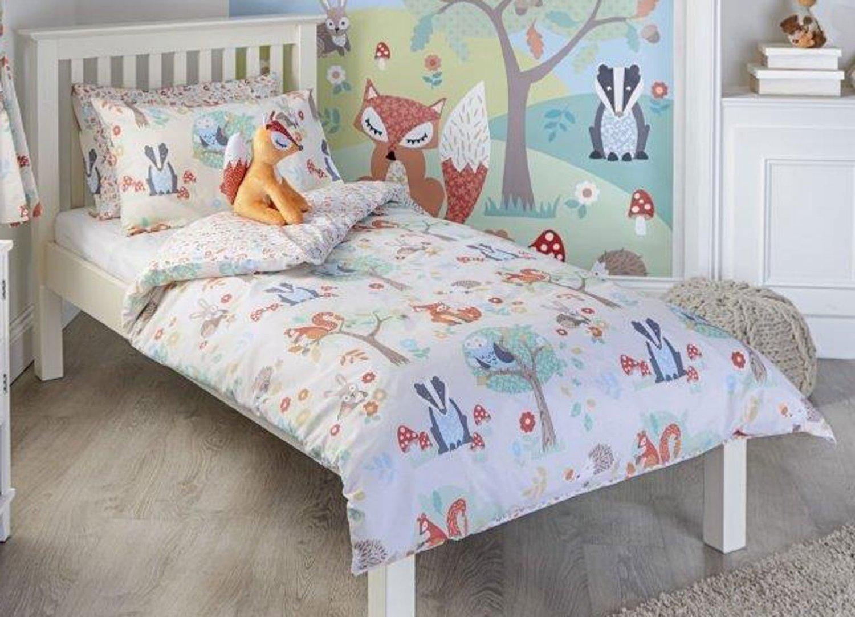 Woodland Animal Toddler Duvet Cover Set, Single Duvet Set, Double Duvet Set, Pair Pencil Pleat Curtains & Wall Art (Pair Curtains 66 x 72) Riva