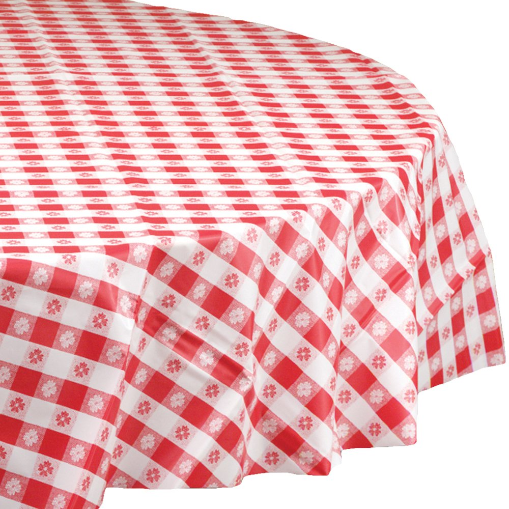 Hoffmaster 112016 Plastic Round Tablecover, 84'' Diameter, Red Gingham (Case of 12)