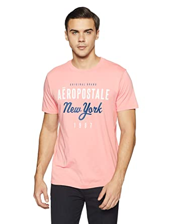 d7c33450a01 Aeropostale Men s Solid Regular Fit T-Shirt (AE1003978668 Dark Pink S)