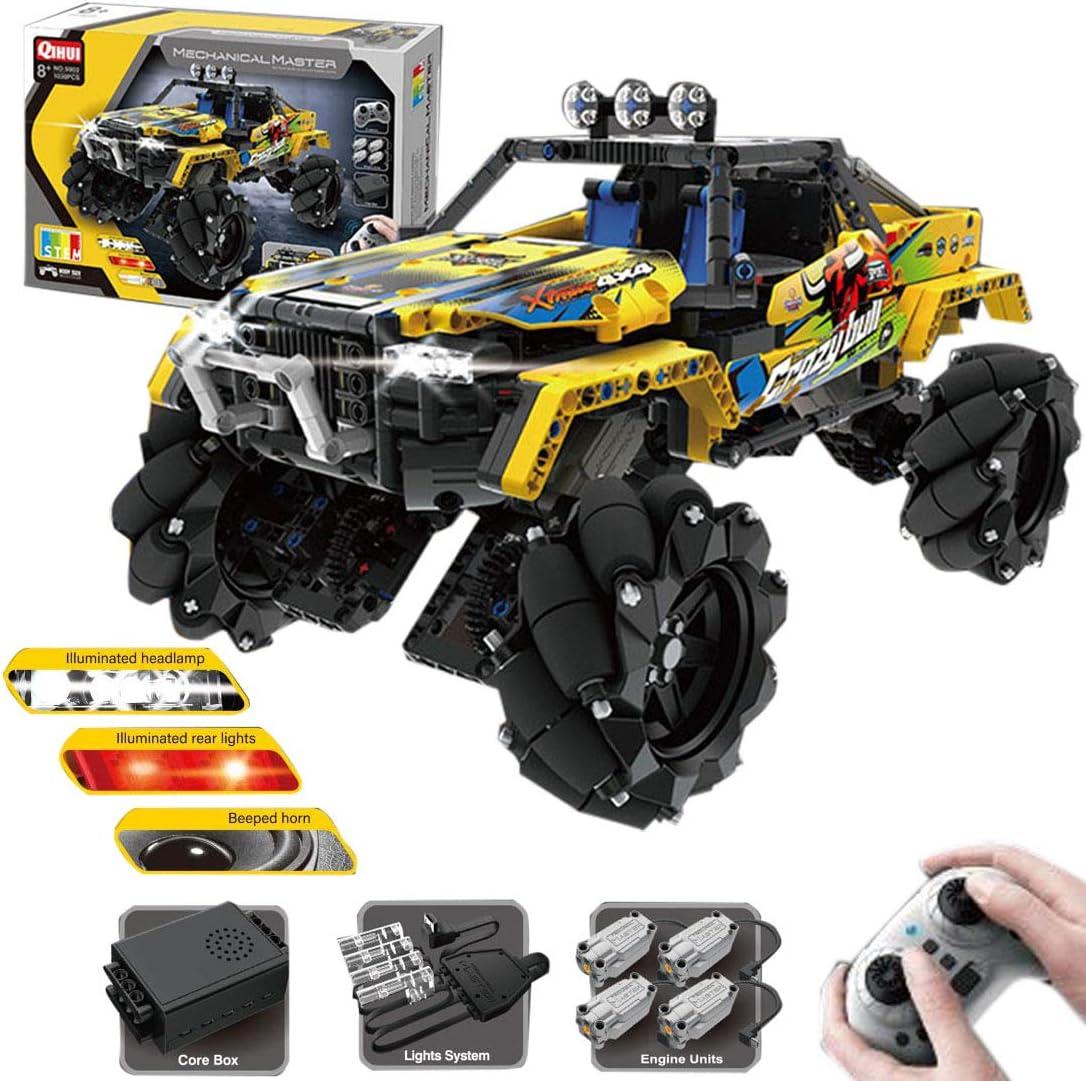 Amazon Com Lingxuinfo Qihui Mechanical Master 1030pcs Off Road Vehicle Universal Wheel Stunt Car Diy Building Kit With Light Sound Toys Games