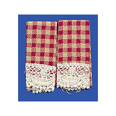 Dollhouse Miniature Set of 2 Country Red Dish Towels: Toys & Games