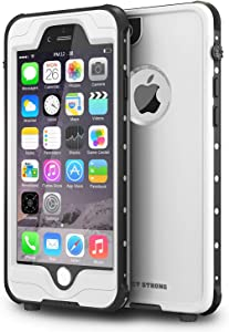 "ImpactStrong iPhone 6 Plus Waterproof Case [Fingerprint ID Compatible] Slim Full Body Protection for Apple iPhone 6 Plus & 6s Plus (5.5"") - White"