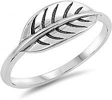 Blue Apple Co. Leaf Band Ring 925 Sterling Silver Choose Color