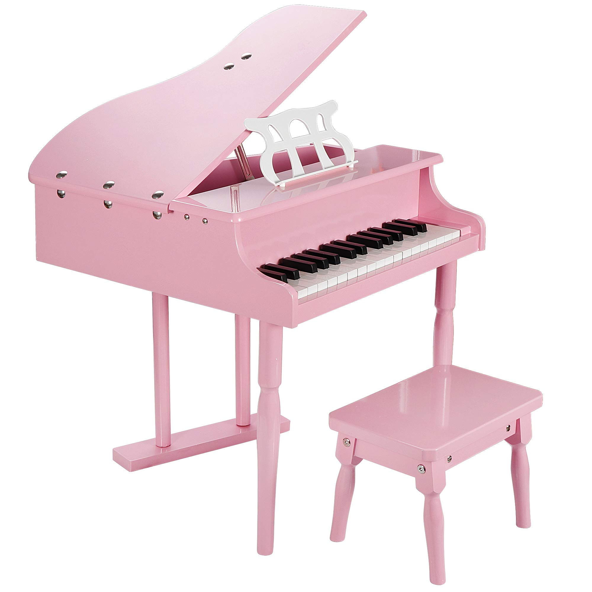 Smartxchoices Newest 30-Key Pink Baby Grand Piano Toy Set for Kids Children with w/ Stool Bench Solid Wood ... by Smartxchoices