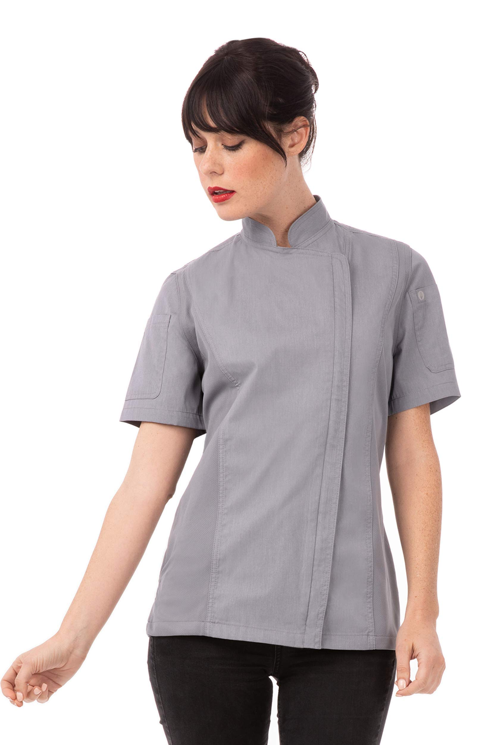 Chef Works Women's Springfield Chef Coat, Gray, Small by Chef Works