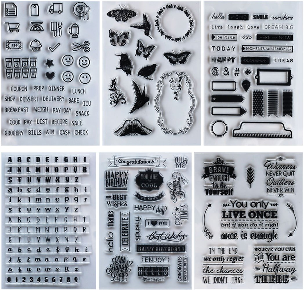 SOOKOO 6 Sheets Different Style Clear Stamps for Card Making Decoration and Scrapbooking Style 02