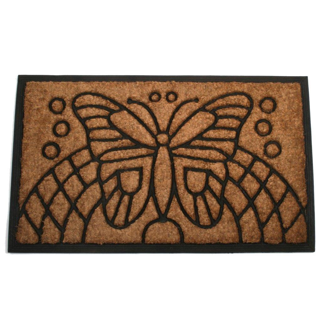 ALFOMBRA / FELPUDO / ALFOMBRA PARA LA SUCIEDAD DE FIBRA DE COCO 75X45 CM - TRABAJO MANUAL - COMERCIO JUSTO (Butterfly)