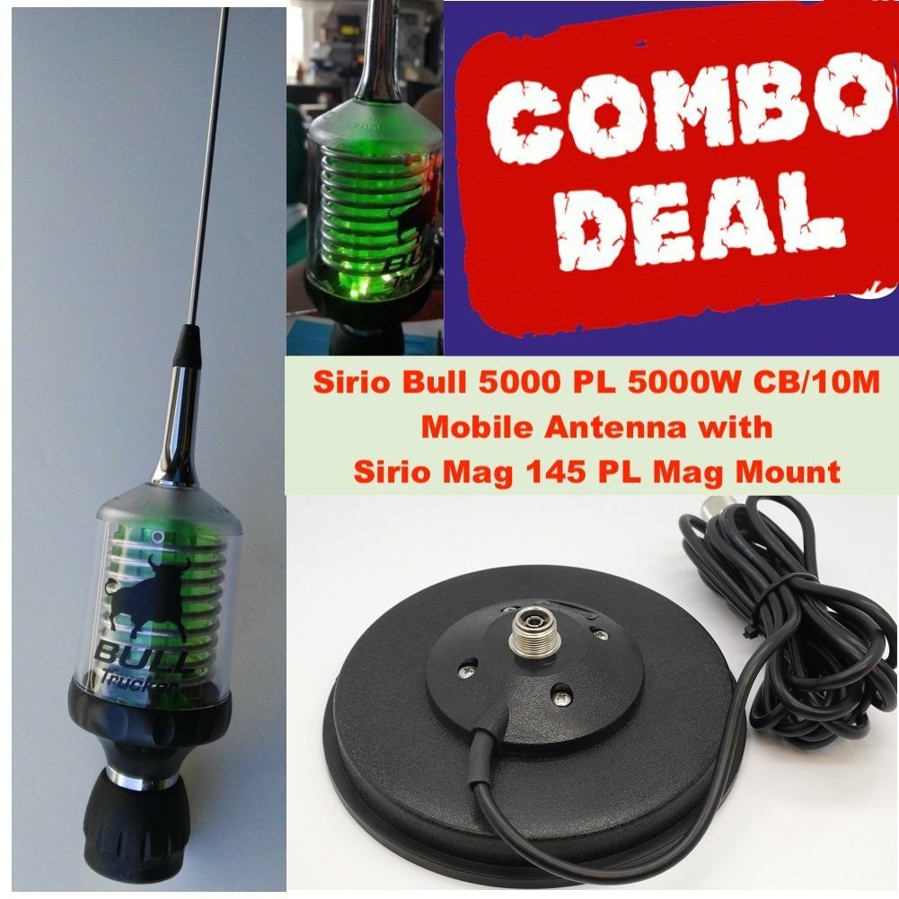 Sirio Bull Trucker 5000 PL5000W CB & 10M Green LED Mobile Antenna with Mag 145 PL Mag Mount