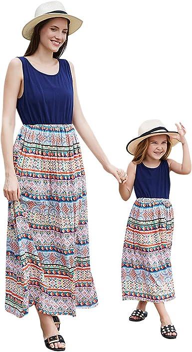Women Mother /& Daughter Matching Family Sundress Girls Casual Beach Summer Dress