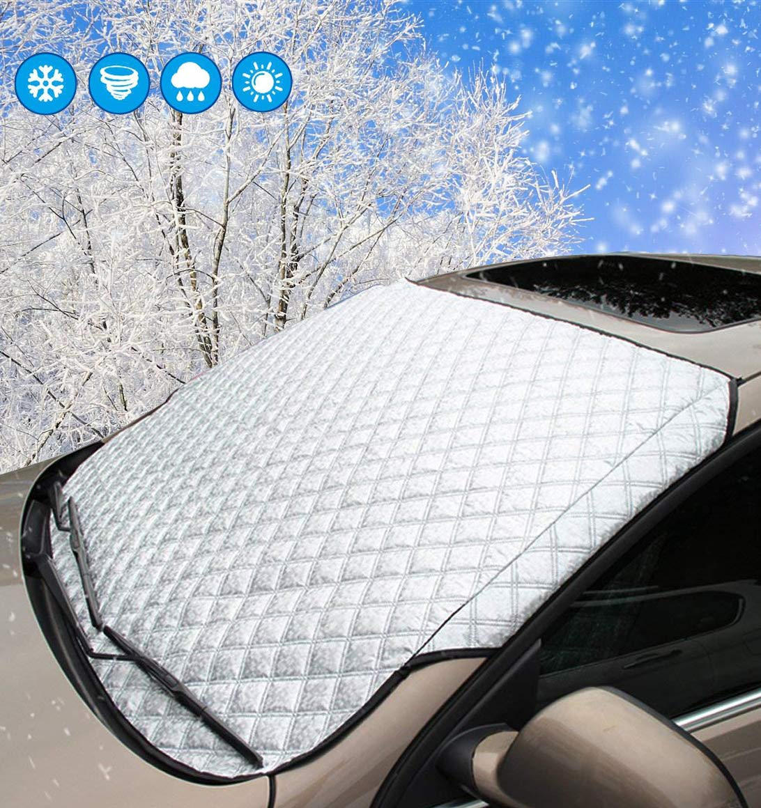 SMALUCK Car Windshield Snow Cover, Heavy Duty Ultra Thick Protective Windscreen Cover - Snow Ice Frost Sun UV Dust Water Resistant in all Weather (145x100)
