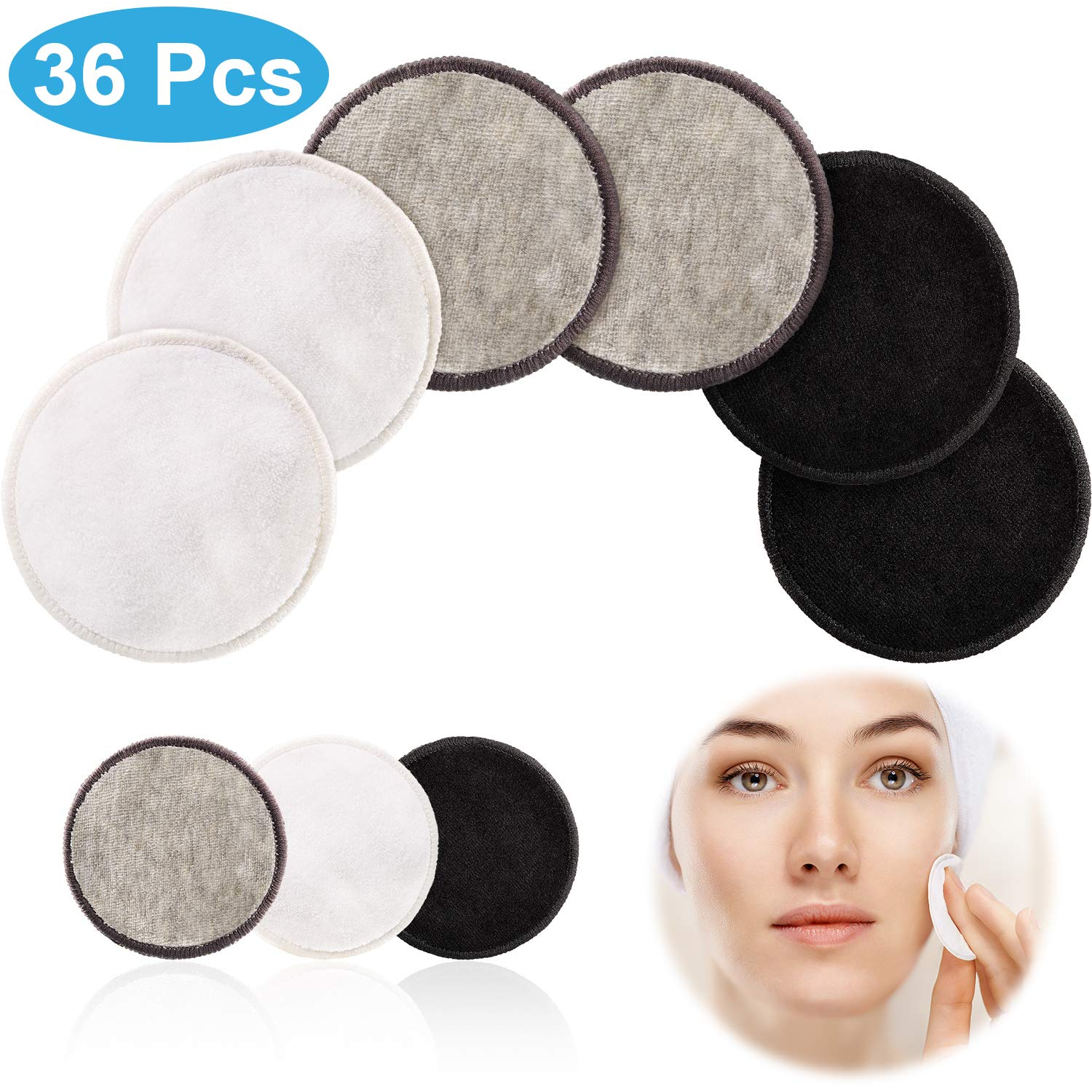 36 Pieces Reusable Face Makeup Remover Pads, 3.15 Inch Cotton Rounds, Colored Eye Makeup Remover Pads Bamboo Fibre And Velour Pads For Facial Cleaning by Yaomiao