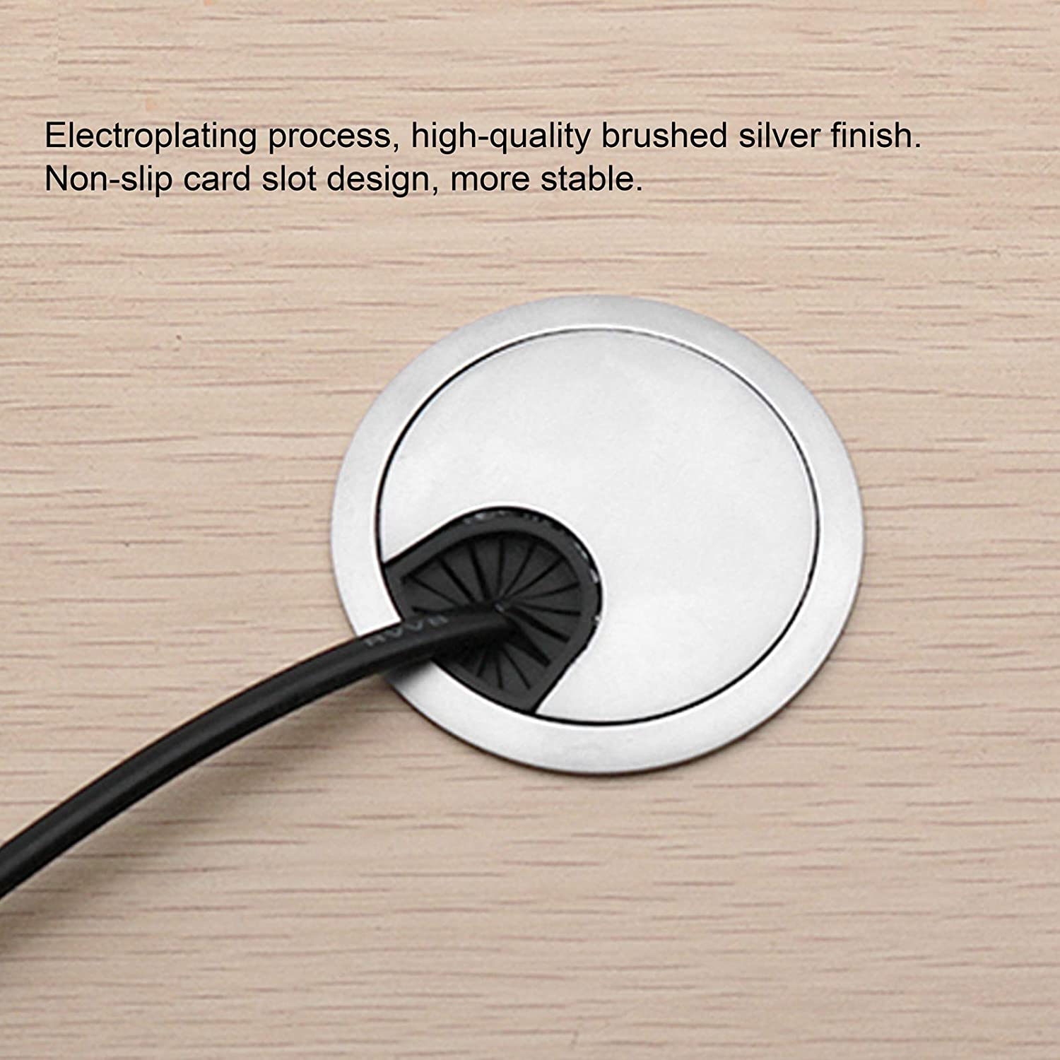 50 Brushed Alloy Wire Box Desk Hole Cover Desk Grommets Zinc Alloy Brushed Silver 4 Set Easy to Install Non‑Slip Computer Desk PC Peripheral School for Office