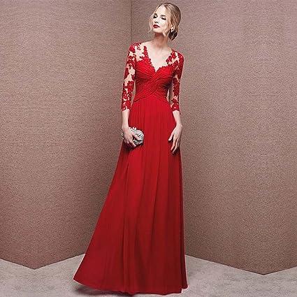 832760691d93 Vestido de noche Hembra Vestido De Novia Banquete Manga Larga Larga ...