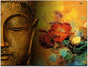 Visual Art Decor Retro Buddha Statue with Flowers Painting Canvas Prints Be Kind Sincere Belief Framed Buddism Poster for Home Wall Decoration (24x32)