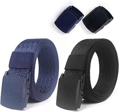 Lalafancy 2 Pack Cinturones de Nylon Militares Tácticos Militares Cinturón de Cintura Transpirable Cinturón Web Cinturón de Cintura Al Aire Libre Sin Hebilla de Metal (Negro + Azul): Amazon.es: Ropa y accesorios