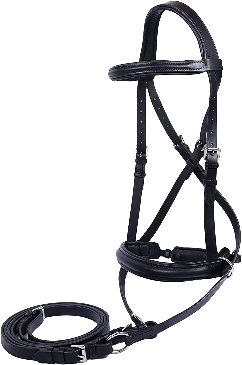 Full BLACK New ** Cross Over ** Bitless Leather Bridle with web grip reins