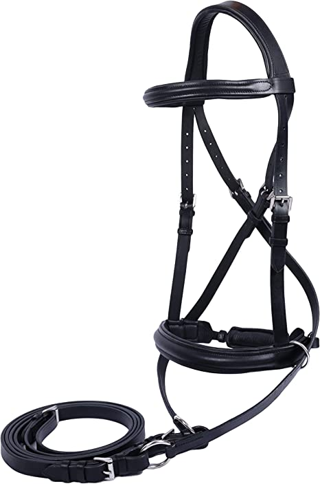 International Leather Cross Over Bitless Bridles with Reins English Horse UK