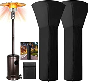 Patio Heater Covers Waterproof with Zipper Black-24 Months of use H87xD33xB19,Standing Propane Heater Covers for Home Outdoor Garden Treasuer with Upgraded 210D Standup Round Oxford