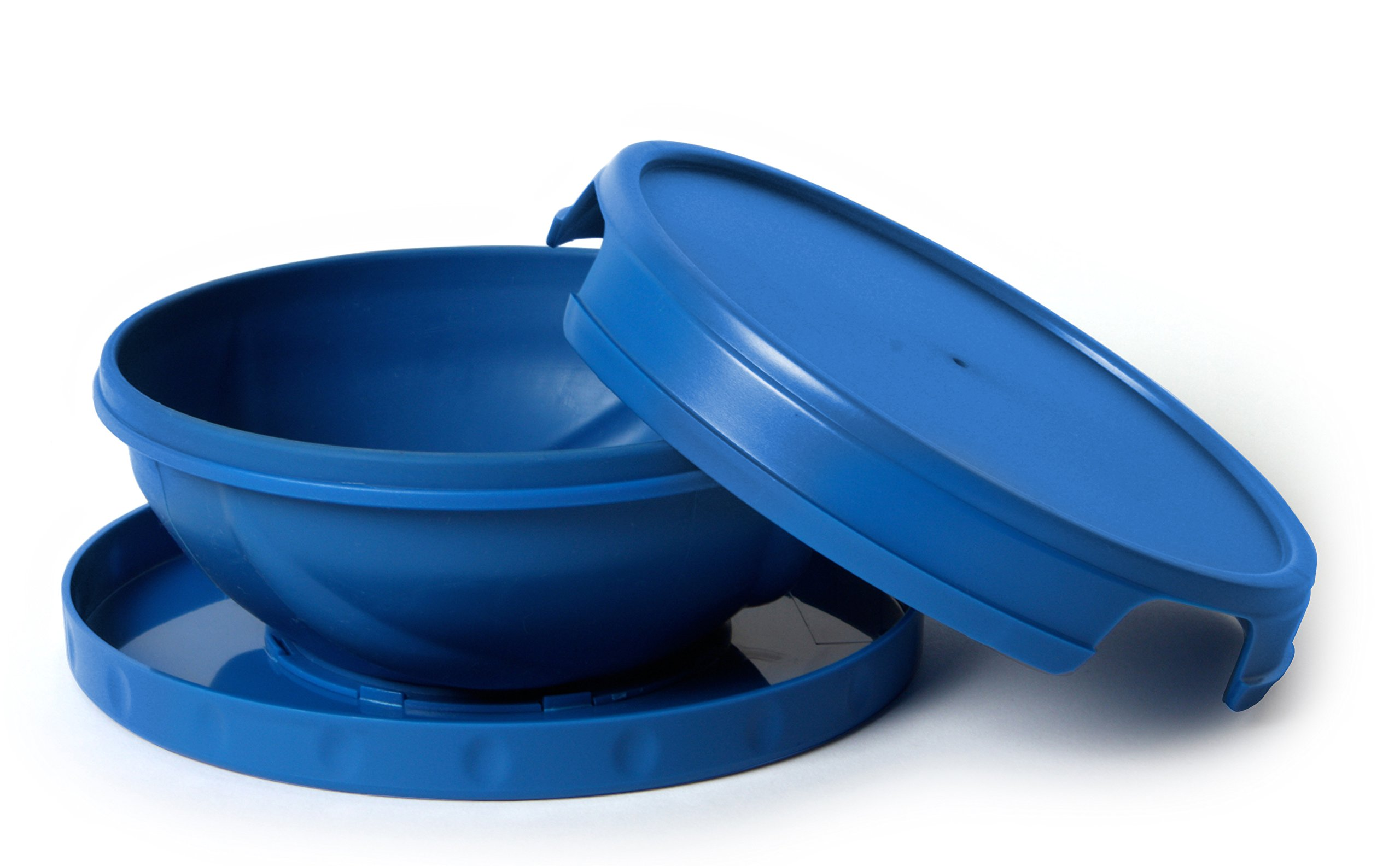 Flatterware Camping Collapsible Bowl Plate Hot Cold Reusable Blue