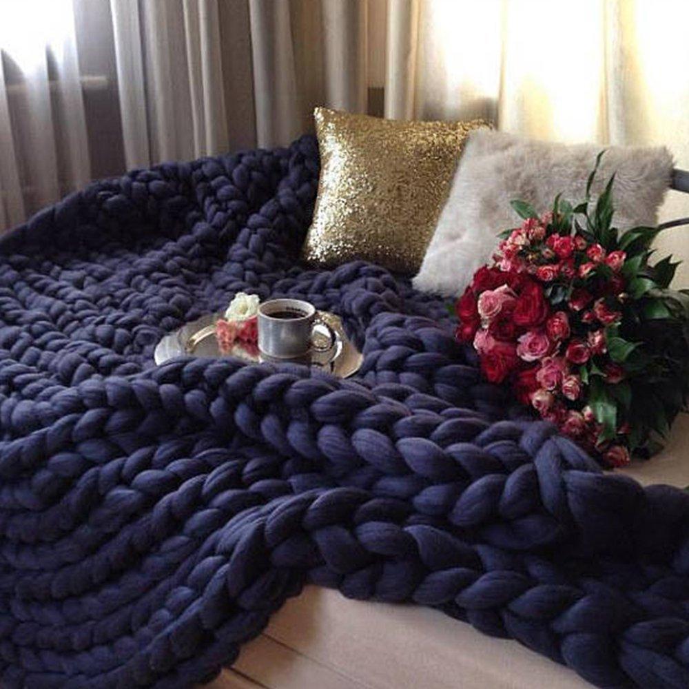 47x71in Chunky Blanket Wool Blanket 100 % Merino Wool Knit Blanket Giant Throw Super Big Bulky Arm Knitting Home Decor Birthday Gift by Cozy Chunky Blanket (Image #3)