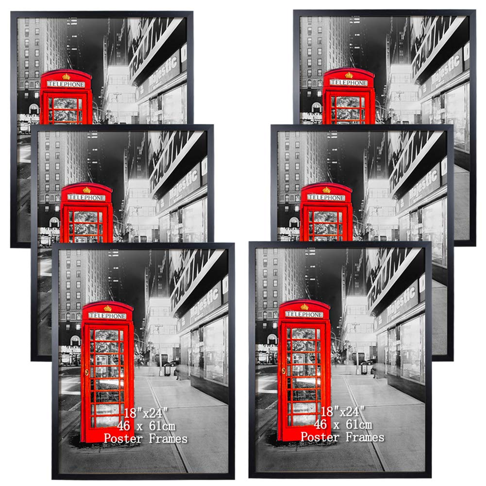 Poster Frame 18x24 Black Wall Picture Frames for 18 by 24 inch Photo Artwork, Set of 6